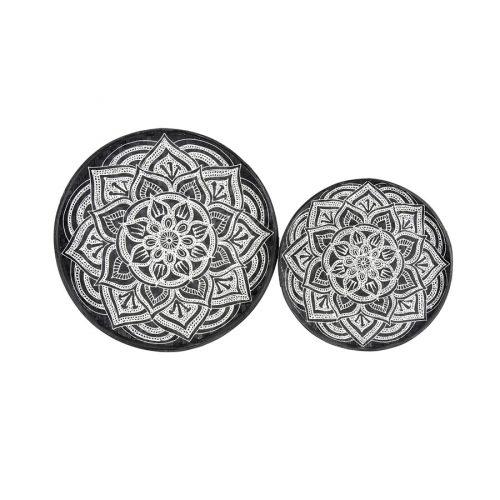 Black and White Mandala Rattan Tray Wall Art - Set of 2