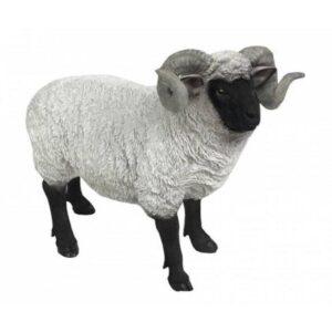 Black and White Standing Sheep Animal Statue