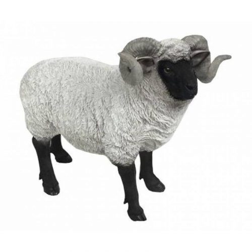 Black and White Standing Sheep Animal Statue