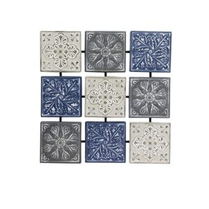 Blue Hamptons Floral Pressed Metal Wall Art