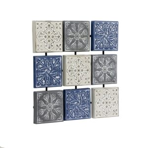 Blue Hamptons Floral Pressed Metal Wall ArtBlue Hamptons Floral Pressed Metal Wall Art