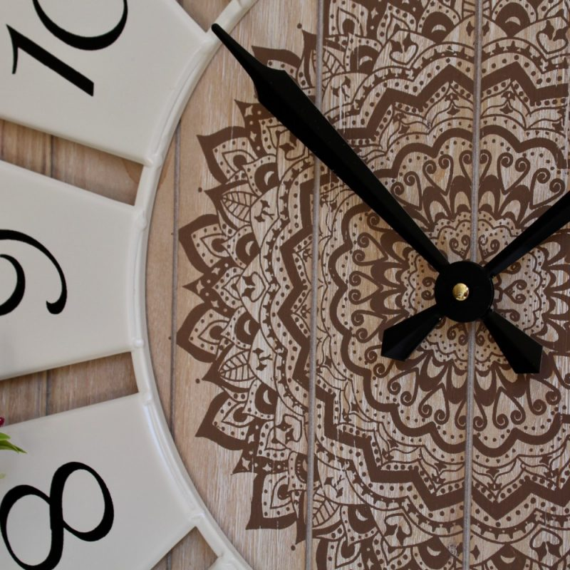 Brown Mandala Wooden Wall Clock With White Metal Numbers_5