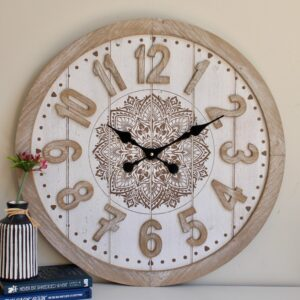 Brown White Large Floral Mandala Wooden Wall Clock