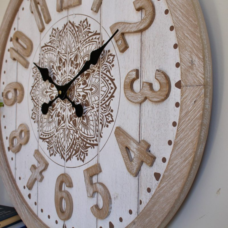 Brown White Large Floral Mandala Wooden Wall Clock