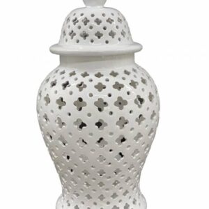 Coastal White Ceramic Ginger Jar Vase