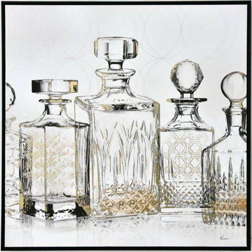 Crystal Wine Bottles Canvas Framed Print Wall Art