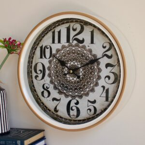 Distressed Black Mandala Metal Wall Clock