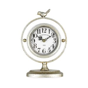 Distressed Champagne Table Clock With Bird