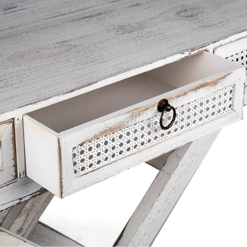 Distressed White French Console Table With 3 Drawers