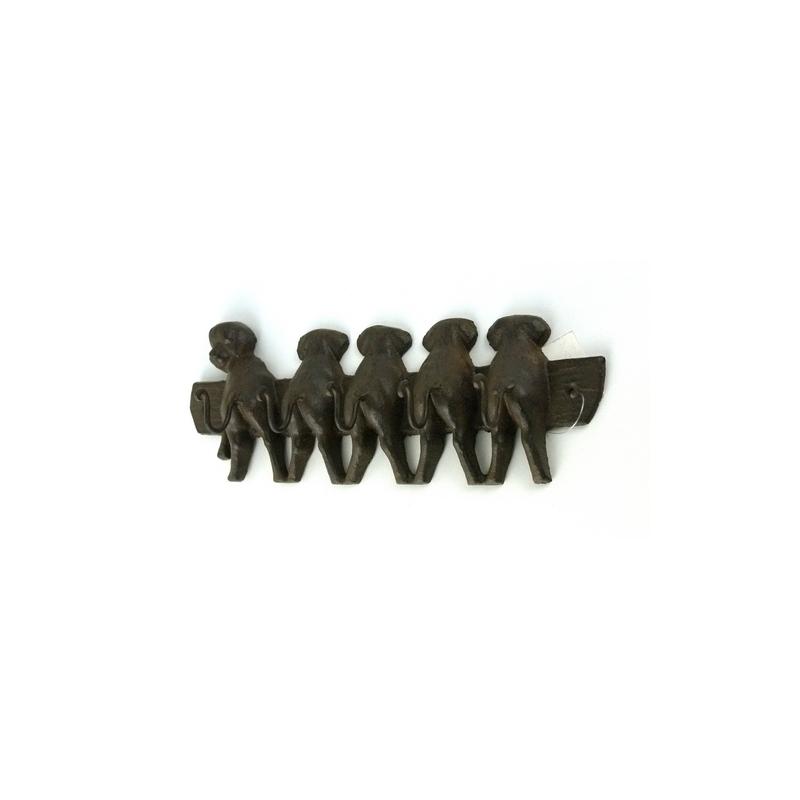 Cast Iron Puppy Dog Key Holder With 5 Hooks