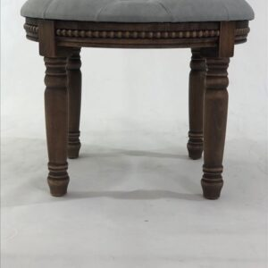 Grey Fabric Upholstered Wooden Accent Stool