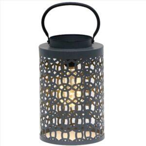 Grey Metal LED Lantern - Set of 2