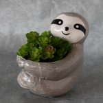 Grey Sloth Hugging Pot Planter