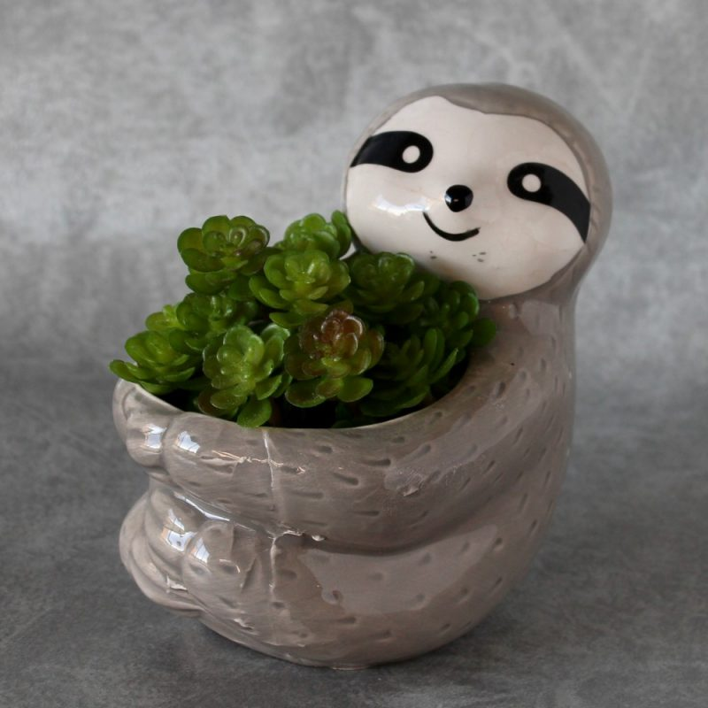 Grey Sloth Hugging Pot Planter