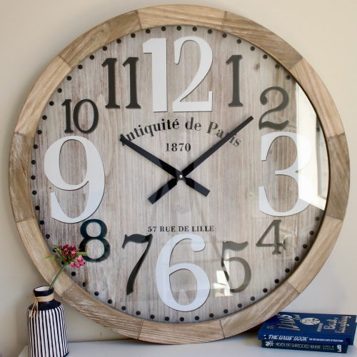 Large Scandi Wooden Glass Wall Clock