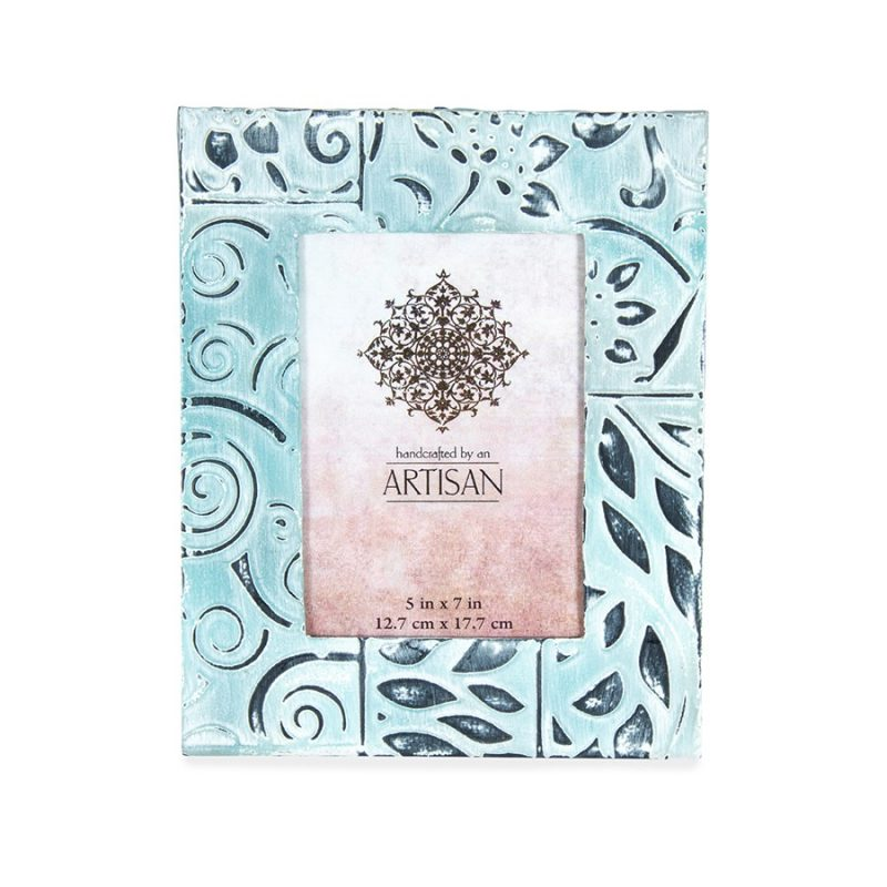 Light Blue Pressed Tin Photo Picture Frame