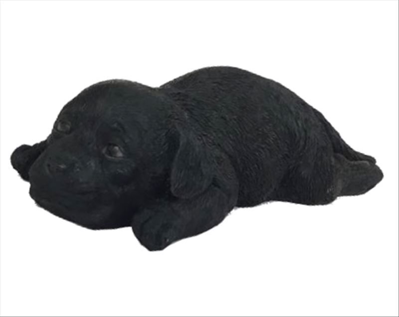 Lying Black Dog Statue Lazy Puppy Sculpture