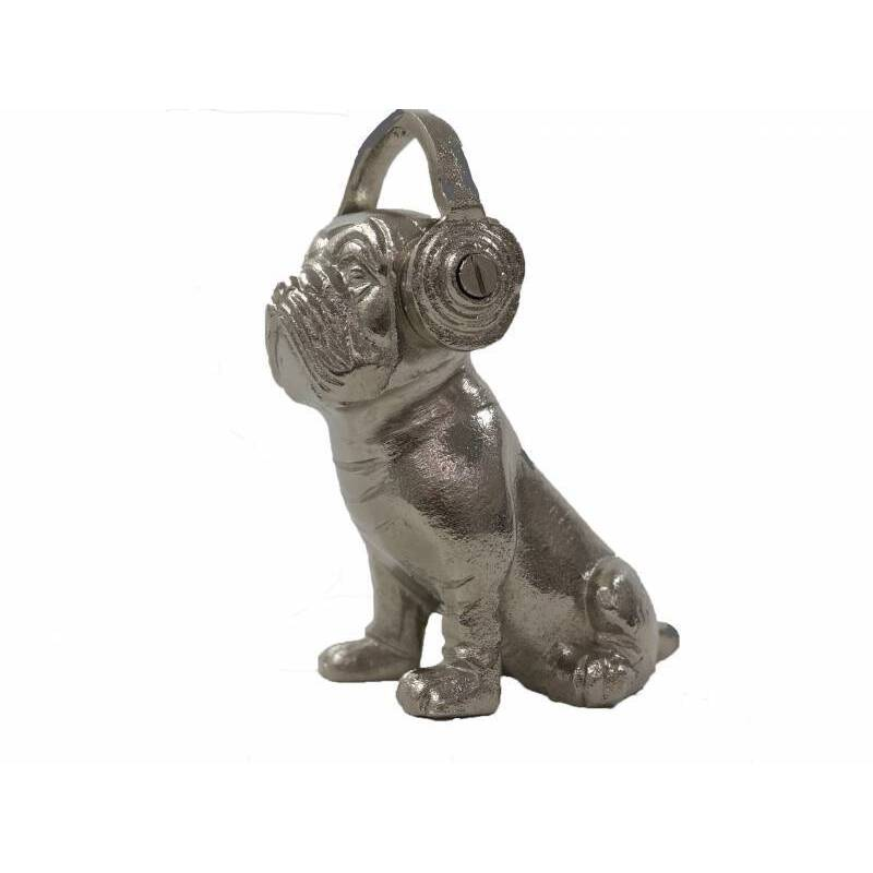 Metal Bulldog Statue With Silver Headphones