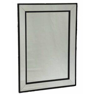 Modern Black Beaded Rectangle Wall Mirror