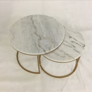 Nesting Round Marble Top Coffee Tables With Golden Metal legs