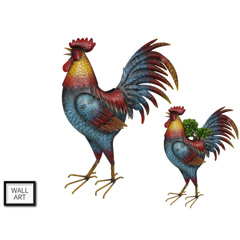 Rooster Chicken Metal Wall Hanging Pot Planter