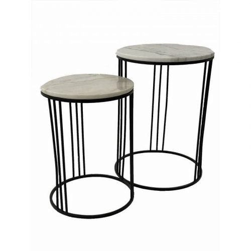 Round Marble Top Side Tables With Black Metal Legs