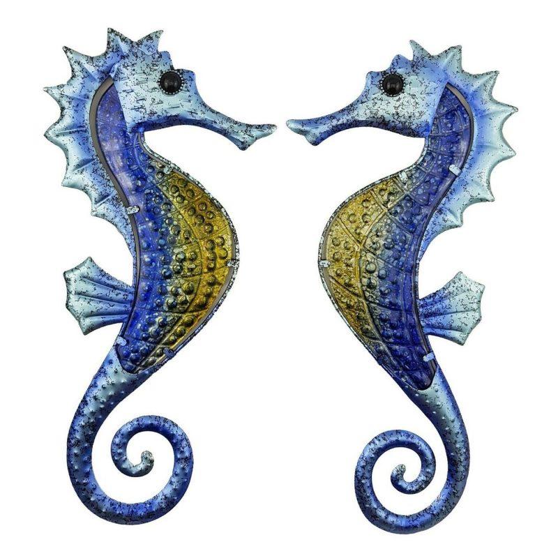 Set of 2 Blue Seahorse Metal Wall Art