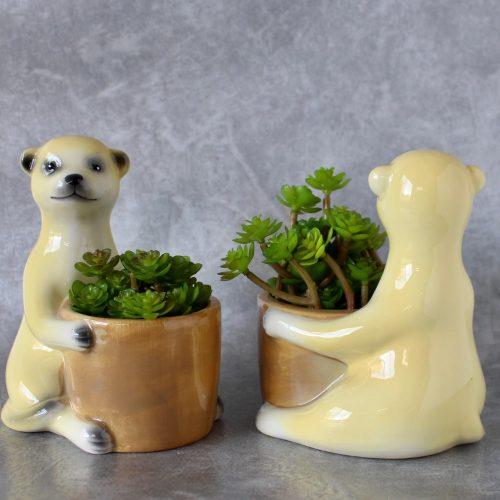 Set of 2 Meerkat Ceramic Planters