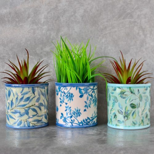 Set of 3 Hamptons Blue Ceramic Pot Planters
