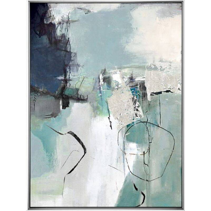 Sky Blue Abstract Framed Canvas Print Wall Art