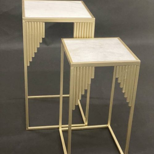 Square White Marble Side Tables Set