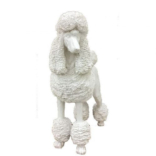 Standing White Poodle Dog Animal Statue