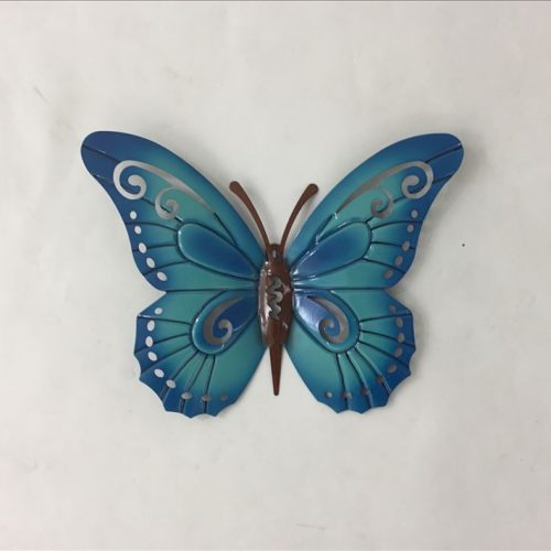 Ornate your walls in an elegant style with this Teal Blue Hanging Butterfly Metal Wall Art