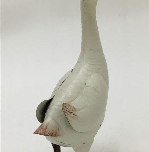 White Standing Duck Metal Bird Statue