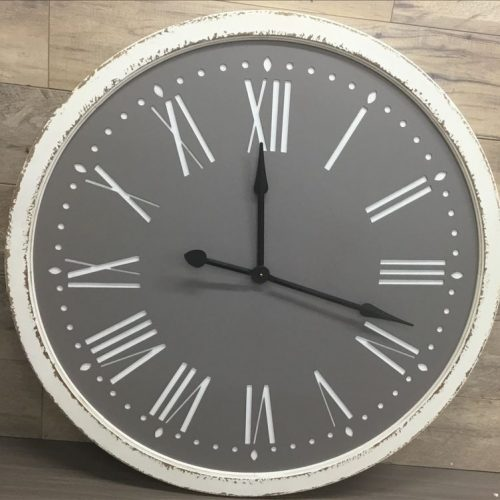 X Large Distressed White Grey Metal Wall Clock