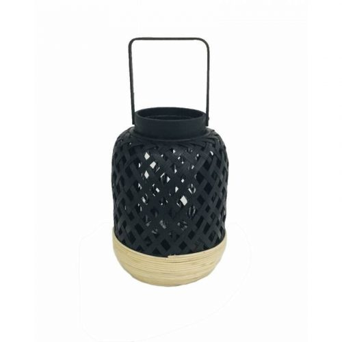 Black Bamboo Candle Lantern