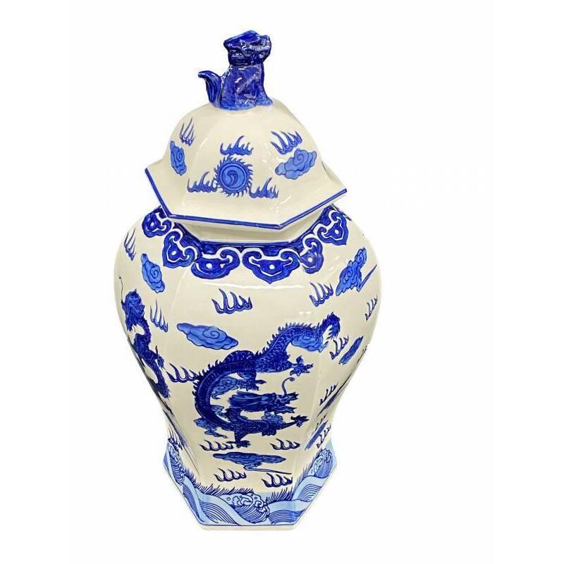 Hamptons Blue White Ceramic Ginger Jar Vase