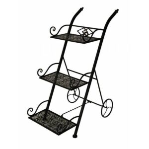 3 Tier Black Metal Pot Stand Triple Plant Holder
