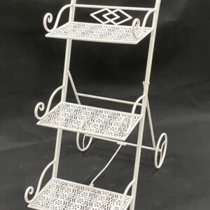 3 Tier White Metal Pot Stand Triple Plant Holder