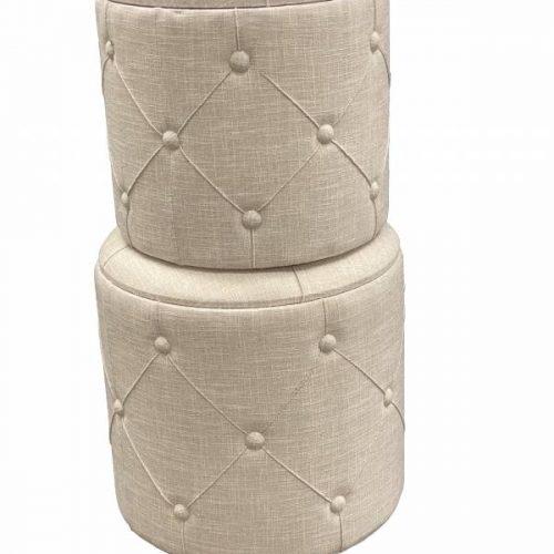 Beige Fabric Ottoman Foot Stools - Set of 2
