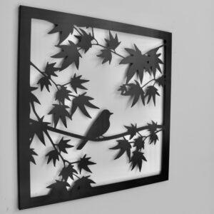 Bird on Tree Black Metal Wall Art