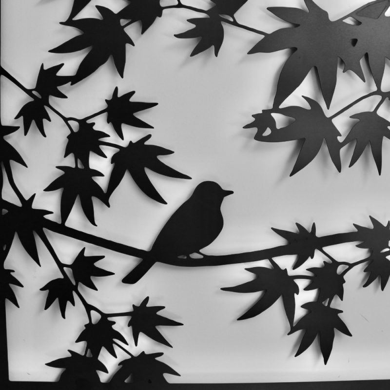 Bird on Tree Black Metal Wall Art