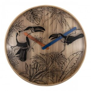 Black Birds NeXtime Silent Wooden Wall Clock