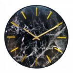Leni Marble Look Clock 30cm - Black