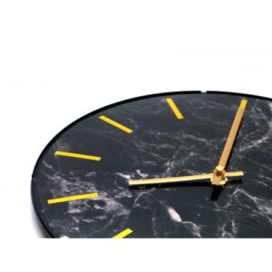 Leni Marble Look Clock 30cm - Black