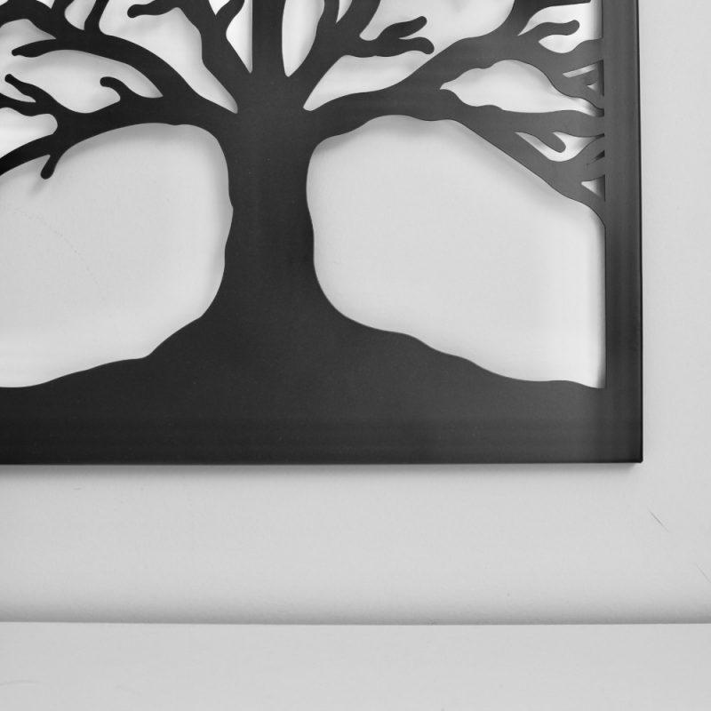 Black Square Tree of Life Metal Wall Art