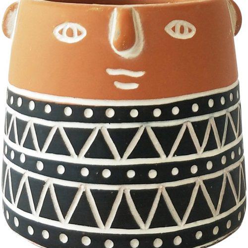 Black Terracotta People Face Pot Planter