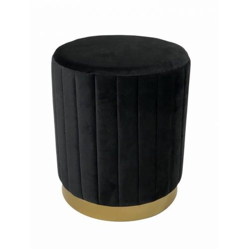 Black Velvet Foot Stool With Metal Base
