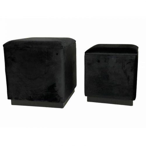 Black Velvet Stool - Set of 2
