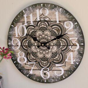 Black and White Mandala Wooden Wall Clock